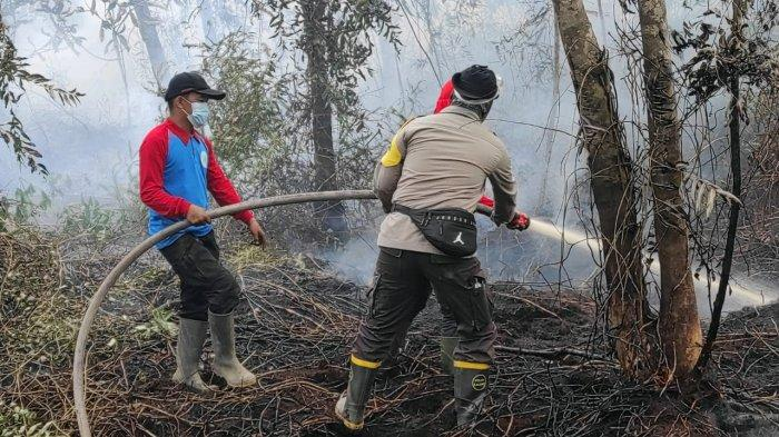 Personel Gabungan dari Polri, TNI, Manggala Agni dan Masyarakat Peduli Api Bantu Padamkan Karhutla di Desa Mentibar, Jumat 28 Mei 2021