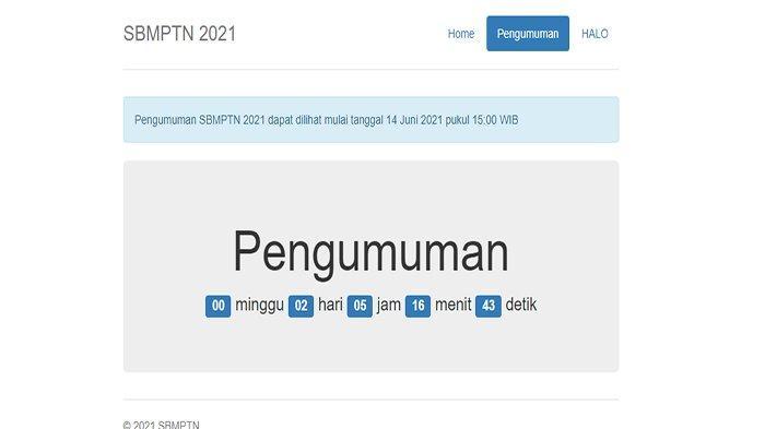 PANDUAN Lengkap Cara Cek Pengumuman Hasil SBMPTN 2021, Hitung Mundur Pengumuman SBMPTN 2021