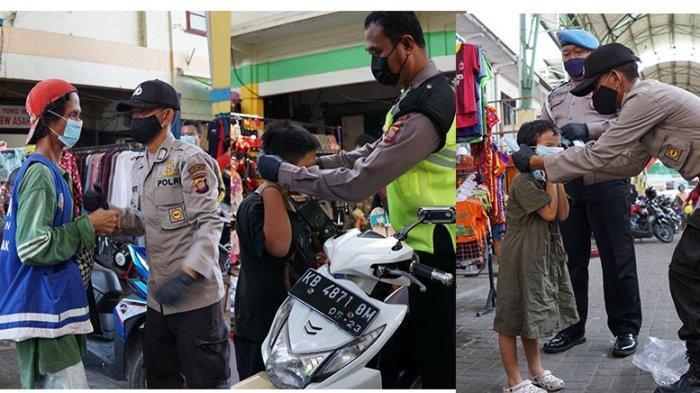 Satgas KRYD PPKM Level 2 Melaksanakan Patroli di Pasar Tengah, Bagikan Masker kepada Warga