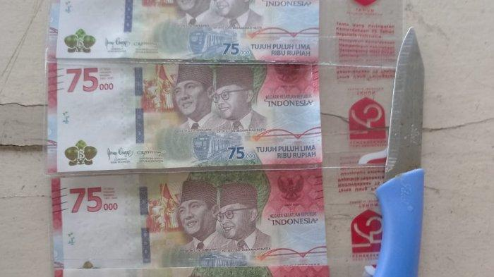 Barang bukti uang pecahan Rp 75 ribu lima lembar
