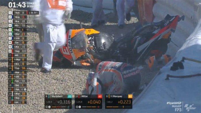 Kondisi Terkini Marc Marquez - Alami Memar Pasca Big Crash, Update Hasil FP 3 MotoGP Hari Ini
