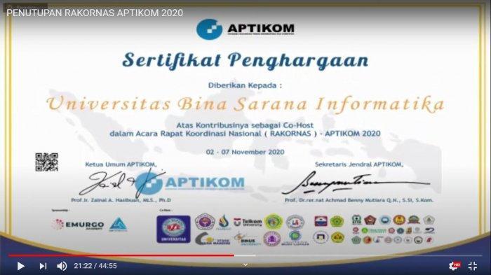 UBSI Raih Penghargaan dari Aptikom