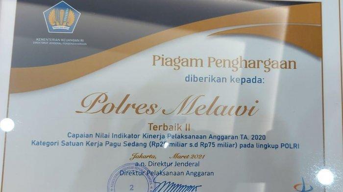 Penghargaan dari Kementerian Keuangan