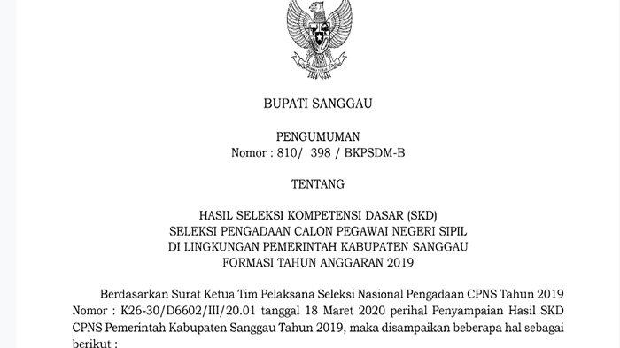 Pengumuman Hasil SKD CPNS 2019 Pemkab Sanggau Kalbar, Ternyata Bisa Dipantau di ssscn.bkn.go.id