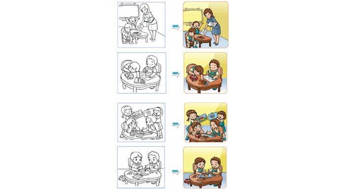 Perhatikan gambar sebelum diwarnai dan setelah diwarnai.