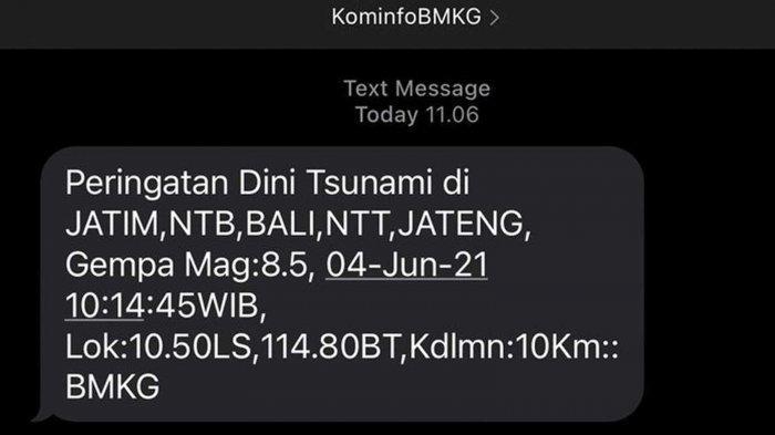 Peringatan Dini Tsunami di Jatim, NTB, Bali, NTT, Jateng dari KominfoBMKG Kesalahan Sistem