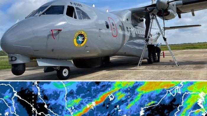 PESAWAT - Lantamal XII Pontianak memperluas sektor pencarian korban kapal tenggelam di Kalbar melalui udara, dengan menggunakan pesawat CN 235 dan Cassa dari TNI Angkatan Laut, Senin 19 Juli 2021.