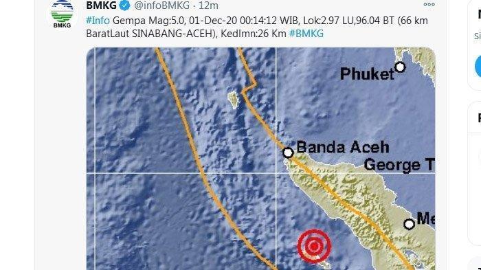 Gempa di Sinabang Aceh, BMKG Pastikan Tak Berpotensi Tsunami