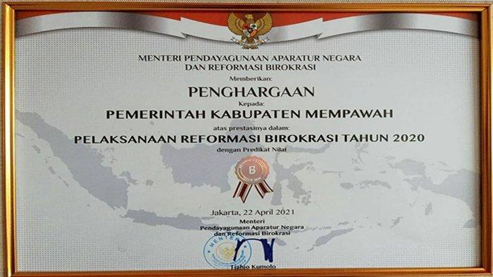 Pemkab Mempawah Raih Penghargaan Reformasi Birokrasi Dari Menpan RB