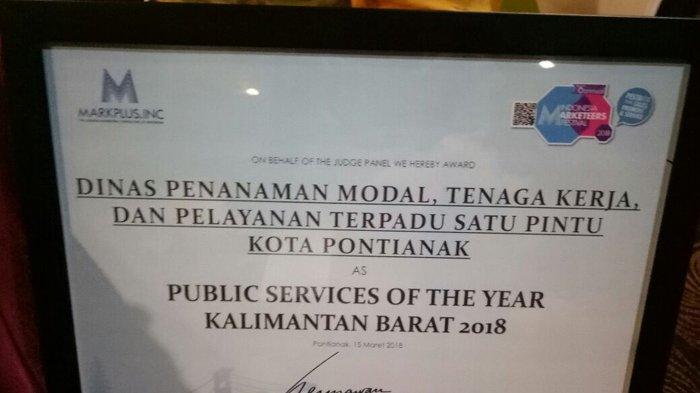 Pemkot Kota Pontianak Dapat Penghargaan Public Services of The Year