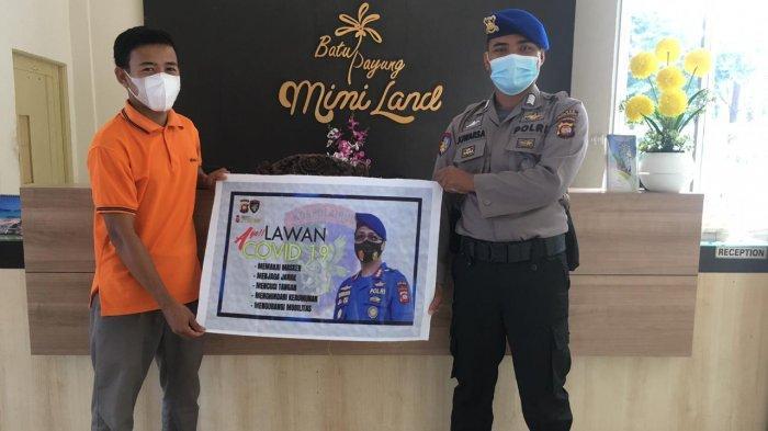 Sambangi Objek Wisata,Personel Sat Polairud Polres Bengkayang Sampaikan Imbauan Prokes