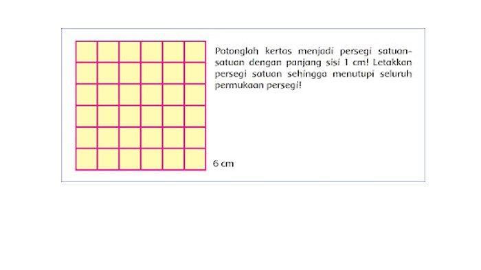 Potonglah kertas menjadi persegi satuan-satuan dengan panjang sisi 1 cm.