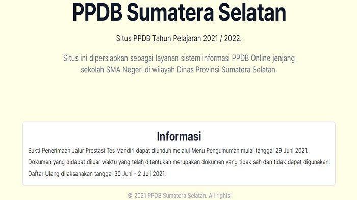ppdbsumsel.net Login Cek Hasil PPDB Sumsel 2021 SMA ! Pengumuman PPDB Sumsel 2021 SMA Hari Ini