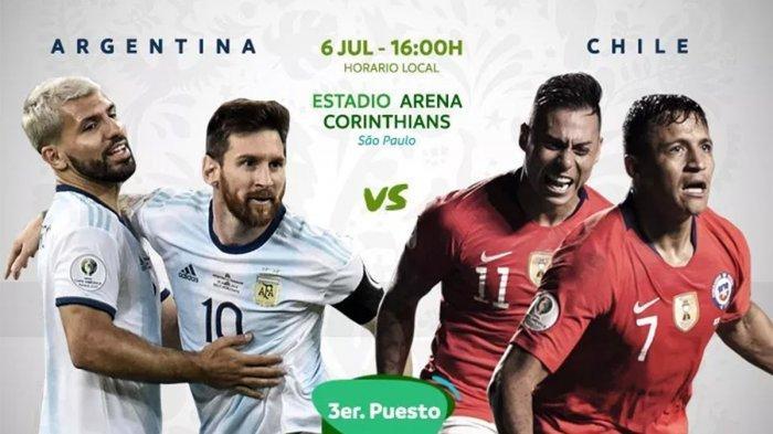 Prediksi Skor Argentina Vs Chili dan Live Streaming Copa America 2019 Prebutan Tempat Ketiga