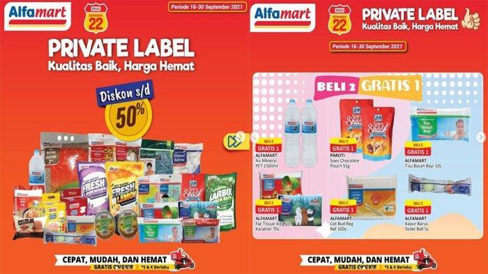 PROMO ALFAMART Hari Ini 28 September 2021, Diskon Hemat hingga 50% Private Label Ada Beli 2 Gratis 1