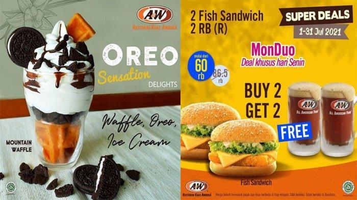 PROMO A&W Terbaru Hari Ini 5 Juli 2021, Segarnya Mountain Waffle Oreo & Pilihan Menu Super Deals