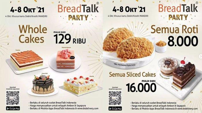 PROMO BreadTalk Terbaru Hari Ini 6 Oktober 2021, Wholes Cakes Mulai 129 Ribu & Sliced Cake 16 Ribu