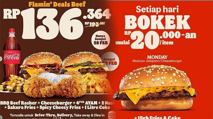 PROMO Burger King Februari 2021, Bayar 1 Dapat 2 Hingga Ada Menu Bokek 20 Ribu