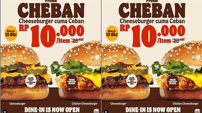PROMO Burger King Hari Ini 12 Oktober 2021, Promo Ceban Cheese Burger Cuma 10 Ribu