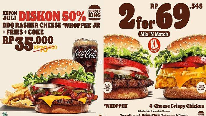 PROMO Burger King Hari Ini 2 Juli 2021, Promo Terbaru Ada BBQ Rasher Cheese Whopeer JR