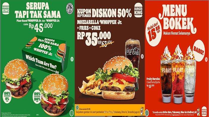 PROMO Burger King Hari Ini 2 September 2021, Beli Plant Based Whopper & Whopper Jr Hanya 45 Ribu