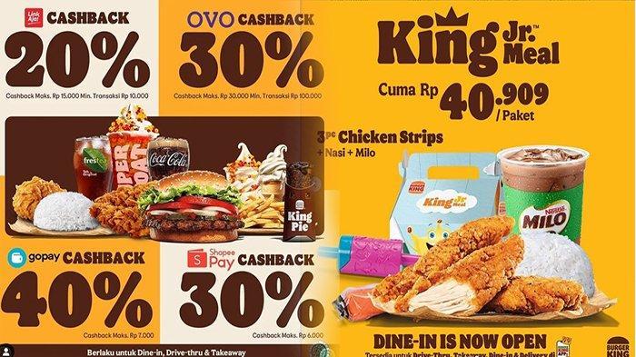 PROMO Burger King Hari Ini 28 September 2021, Dapatkan Cashback Hingga 40 Persen Setiap Makan di BK