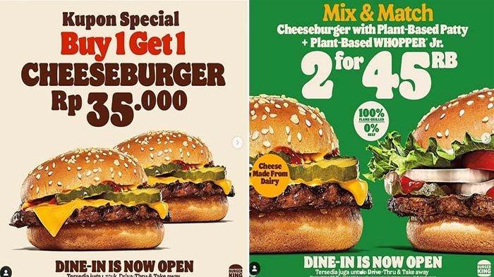 PROMO Burger King Hari Ini Hingga 30 September 2021, Ada Promo Buy 1 Get 1 dan Beli 2 Hanya 45 Ribu