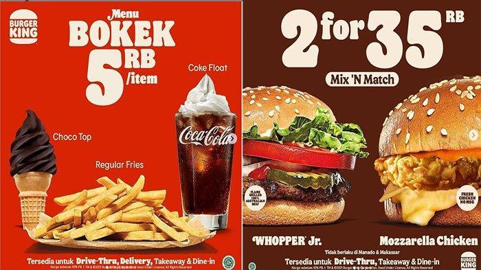 PROMO Burger King Terbaru Hari Ini 19 Juni 2021, Promo Mulai 5 Ribu Hingga Beli 2 Hanya 35 Ribu