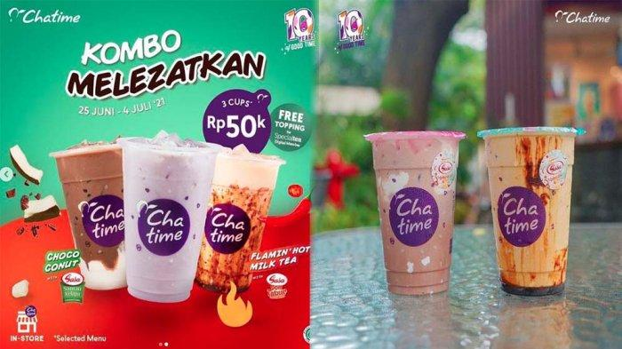 PROMO CHATIME Hari Ini 30 Juni 2021, Promo Kombo Melezatkan & Beli 3 Cup Chatime Hanya Rp 50 Ribu