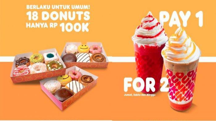 PROMO DUNKIN DONUTS Hari Ini 13 Juni 2021, Beli 1 Dapat 2 hingga Promo 18 Donuts Murah Banget