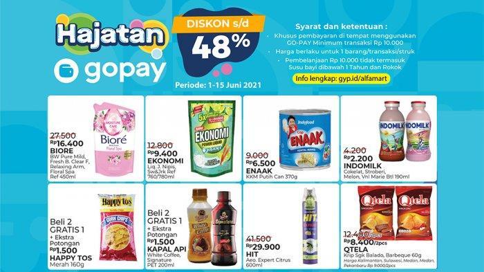 PROMO ALFAMART Terbaru 1 Juni 2021 Hajatan Gopay dan ShopeePay Murmer, Diskon Deterjen Susu Snack