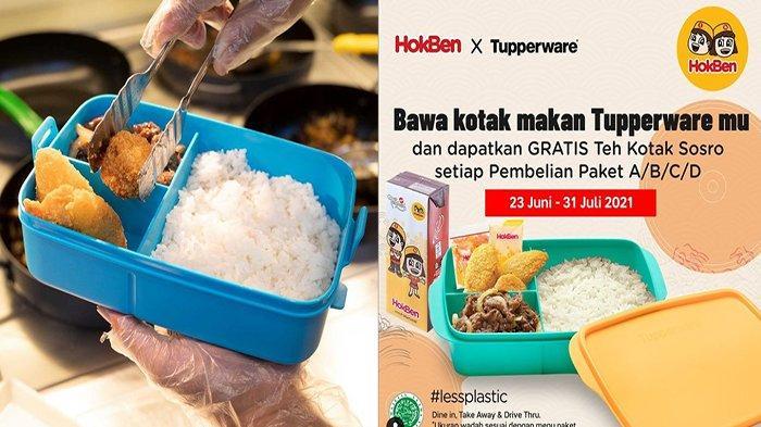 PROMO HokBen Hari Ini 3 Juli 2021, Bawa Box Tupperwaremu Dapatkan Teh Kotak Sosro Gratis