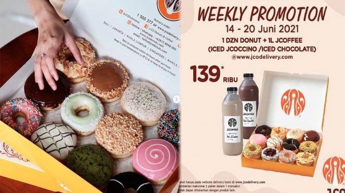 PROMO JCO Hari Ini 17 Juni 2021, 1 Lusin JCO Donuts + 1 L JCoffee Iced JCocinno Iced Chocolate Hemat