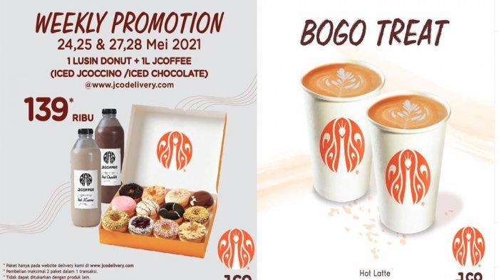 PROMO JCO Hari Ini 28 Mei 2021, Beli 1 Gratis 1 Minuman Hot Late & 1 Lusin Donuts 1 L JCoffee Murah