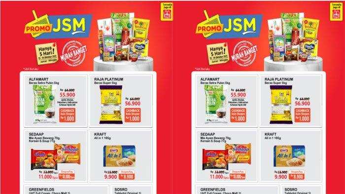PROMO JSM ALFAMART 15 - 19 Oktober 2021, Beras Mulai Rp 55.900 & Minyak Goreng Rp 27.500 Pakai Gopay