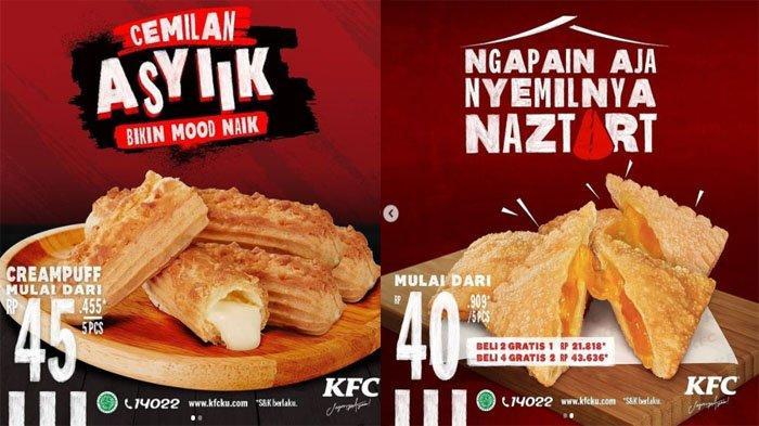 PROMO KFC Terbaru 14 Juli 2021, 5 Creampuff KFC Mulai 45 Ribuan dan 5 Naztart KFC Mulai 40 Ribuan