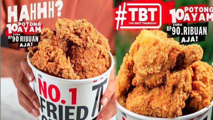 PROMO KFC Hanya Hari Ini Kamis 24 Juni 2021, Promo TBT 10 Potong Ayam Cuma 90 Ribu di KFC Terdekat