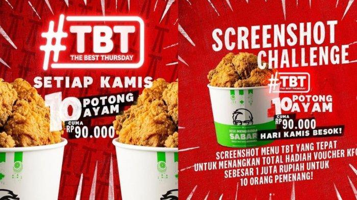 PROMO <a href='https://manado.tribunnews.com/tag/kfc' title='KFC'>KFC</a> Hanya Hari Ini Kamis 6 Mei 2021, Promo TBT 10 Potong Ayam Goreng <a href='https://manado.tribunnews.com/tag/kfc' title='KFC'>KFC</a> Cuma Rp 90.000