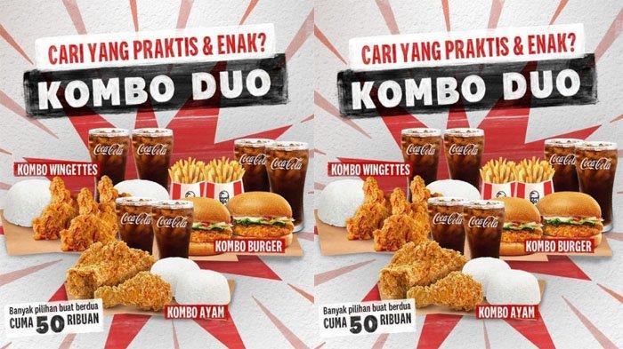 PROMO KFC Hari Ini 1 September 2021, Makan Berdua Hemat Kombo Duo 3 Pilihan Menu Cuma 50 Ribuan