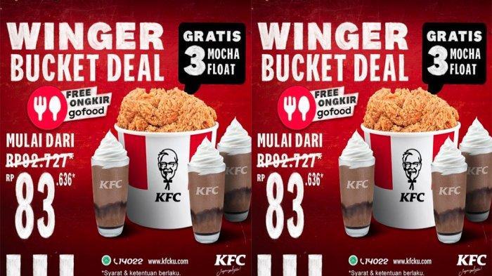 PROMO KFC Hari Ini 24 Maret 2021, Bucket Winger + 3 Mocha Float Gratis Periode 23 - 31 Maret 2021