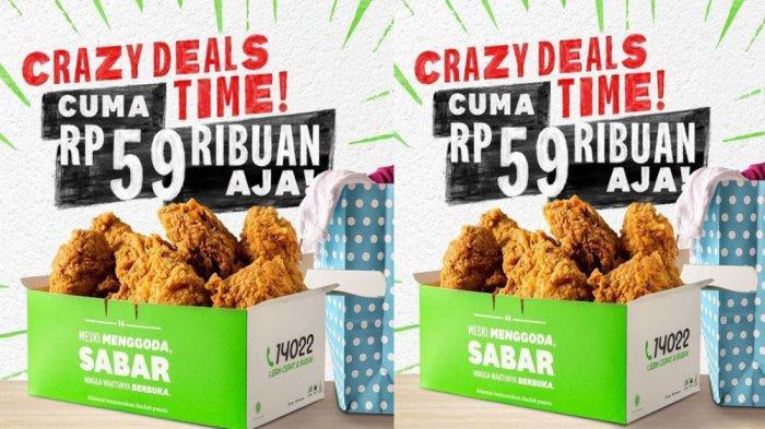 PROMO KFC Hari Ini 3 Mei 2021, Nikmati Crazy Deals 5 hingga 9 Potong Ayam Cuma dari Rp 59 Ribuan