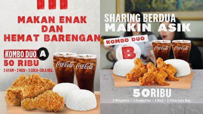 PROMO KFC Hari Ini 5 September 2021, Kombo Duo 3 Wingettes 3 Drumettes 2 Nasi 2 Coca-Cola Rp 50 Ribu