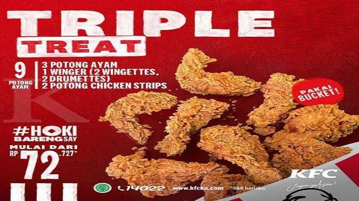 PROMO KFC Hari Ini 6 Februari 2021, Menu KFC Triple Treat di KFC Terdekat 9 Potong Cuma Rp 70 Ribuan