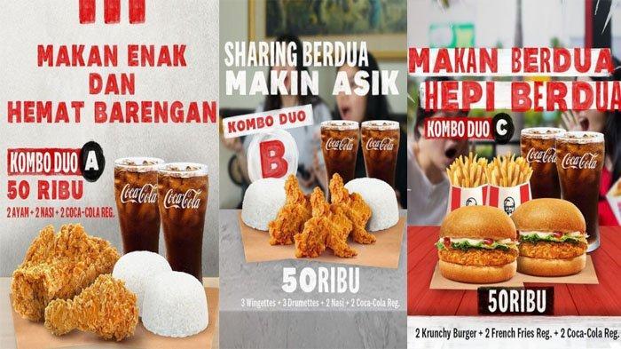PROMO KFC Hari Ini 6 September 2021, Makan Hemat Berdua dengan KFC Kombo Duo Hanya Rp 50 Ribu