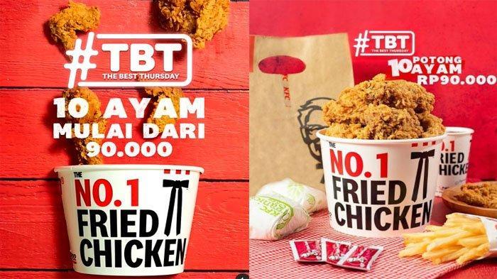 PROMO KFC Khusus Hari Ini Kamis 2 September 2021, Promo TBT 10 Potong Ayam Goreng Mulai Rp 90 Ribu