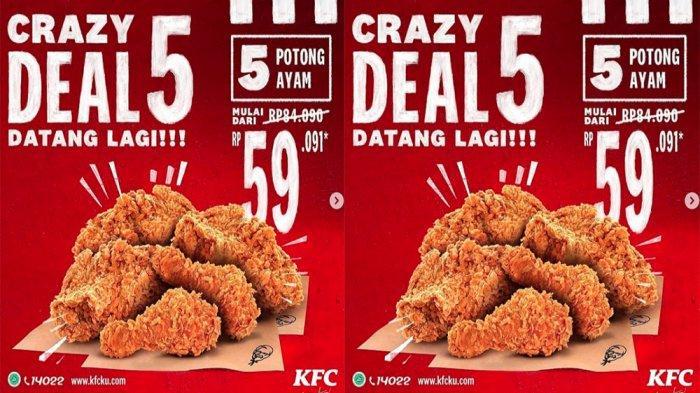 PROMO KFC TERBARU Hari Ini 19 Januari 2021, Crazy Deal Makan Puas 5 Potong Ayam KFC Cuma 59 Ribuan