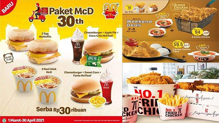 PROMO Makanan Hari Ini Sabtu 4 April 2021, Promo Hemat Dari A&W McD Burger King HokBen & KFC