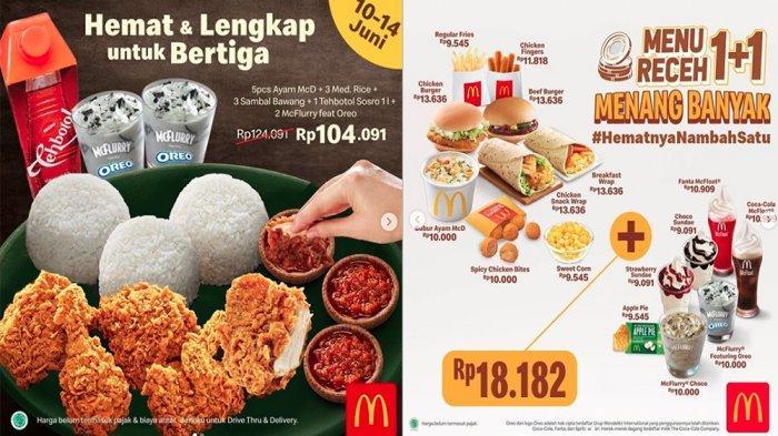 PROMO McDonalds Juni 2020, Harga SpesialMulai Rp 104.091 hinggaMenu Receh 1+1 Mulai Rp 18.182 Saja