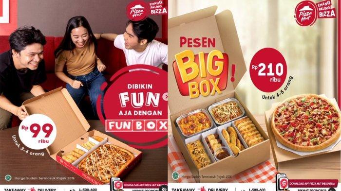 PROMO PIZZA HUT 14 Februari 2021, Funbox Pizza Kotak 3 Snack Gratis Upgrade Topping Pizza 99 Ribuan