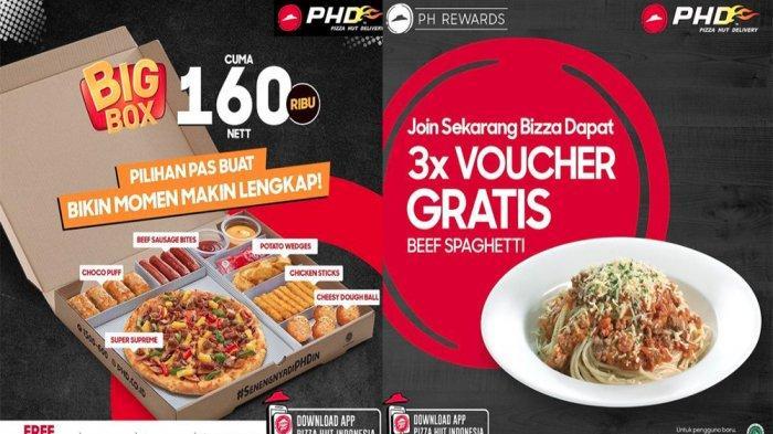 PROMO Pizza Hut Delivery 9 Juni 2021, Big Box Pizza Favorit Snack & Voucher Gratis Beef Spaghetti